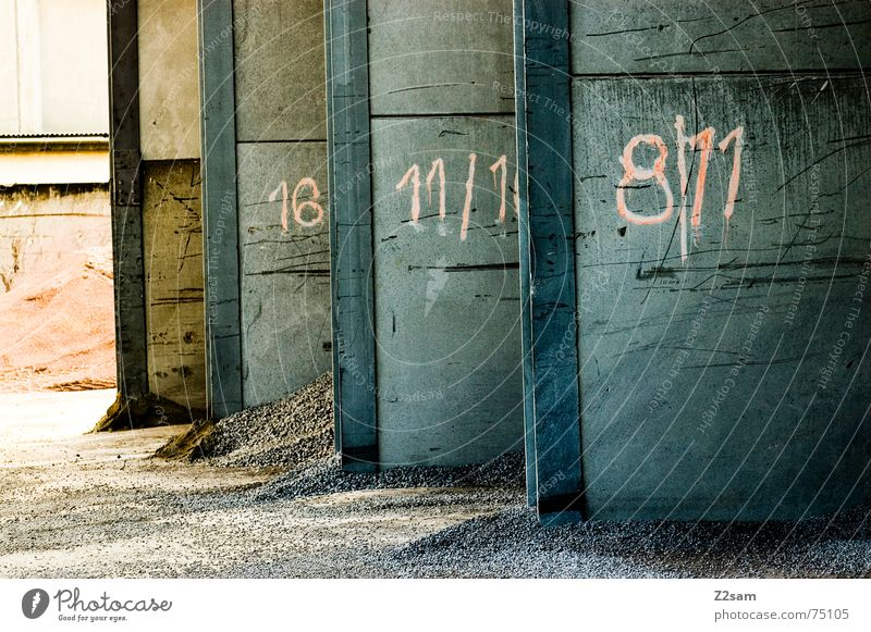 Blue Red Colour Wall (building) Stone Sand Industrial Photography Digits and numbers Gate 8 Garage Heap 11 Side by side