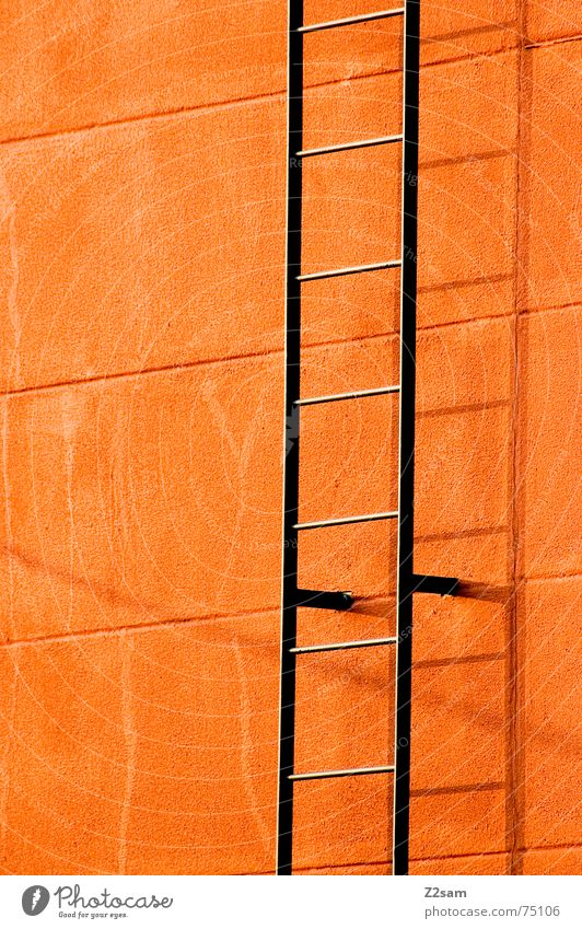 Colour Wall (building) Above Line Orange Metal Empty Stairs Under Upward Ascending Ladder Rod Flashy Fire ladder