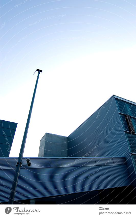 Sky Blue Line Architecture Modern Factory Construction site Cube Tin Rectangle Corporate building Corrugated sheet iron Expressway exit