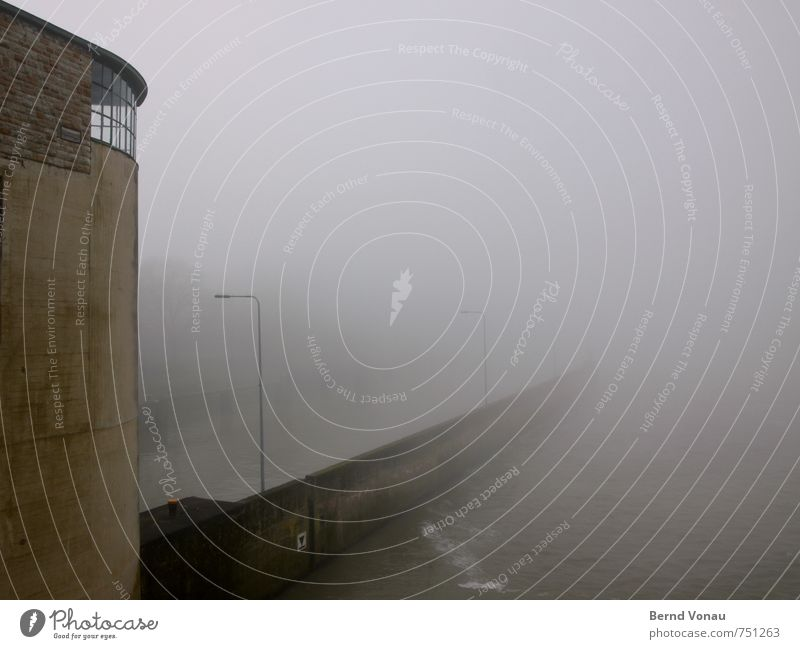 foggy and cloudy Harbour Wall (barrier) Wall (building) Window Roof Navigation Inland navigation Gloomy Brown Gray Moody Fog Lantern Lamp post Water River