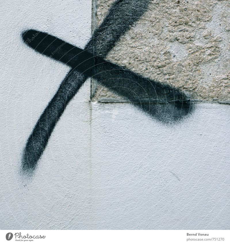 tick in bold type Crucifix Select Wall (building) Black Gray Spray Spray can Graffiti Plaster Rough Fog Vandalism Town Signs and labeling Symbols and metaphors