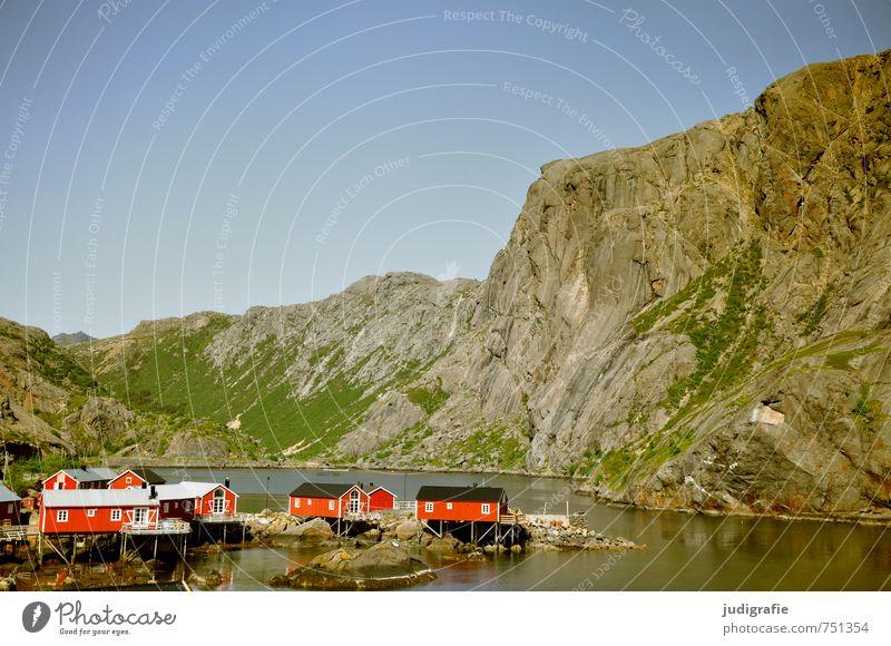 lofoten Environment Nature Landscape Water Beautiful weather Rock Fjord Norway Lofotes Nusfjord Village Fishing village House (Residential Structure) Hut