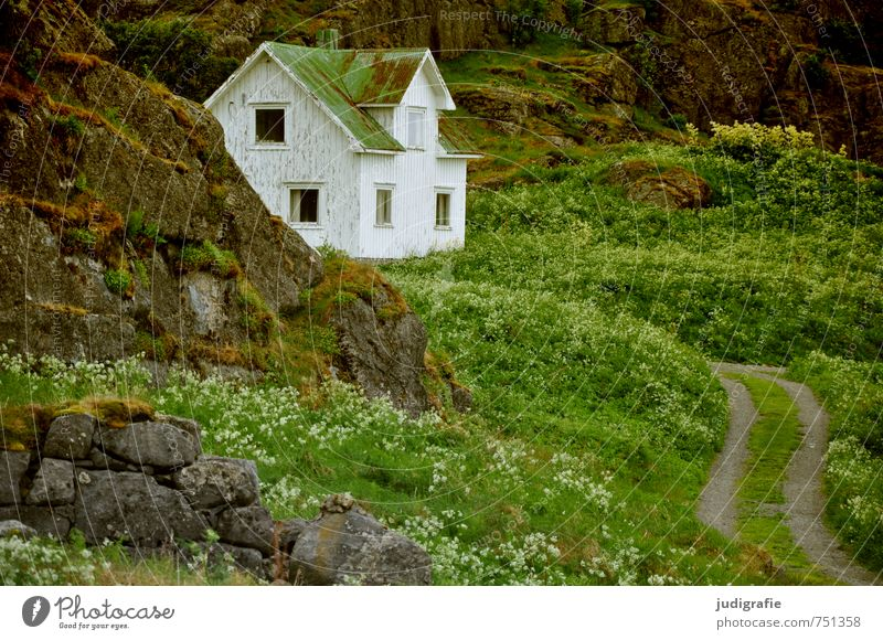 Nature Loneliness Landscape House (Residential Structure) Environment Lanes & trails Rock Moody Living or residing Idyll Norway Detached house Vesteralen