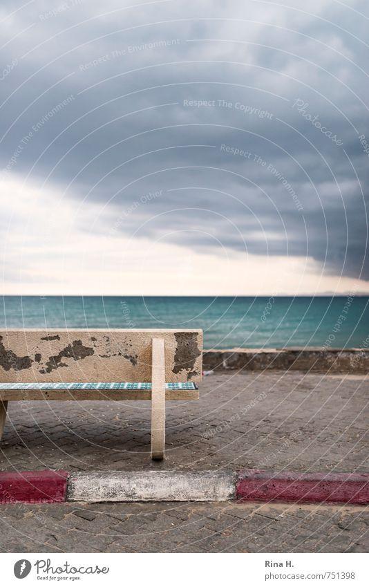 Sky Ocean Loneliness Clouds Dark Spring Horizon Wind Threat Bench Derelict Sidewalk Storm Gale Bad weather Promenade