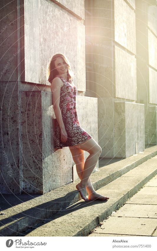 Youth (Young adults) Beautiful Young woman 18 - 30 years Adults Feminine Laughter Happy Legs Feet Facade Body Illuminate Stand Esthetic Happiness
