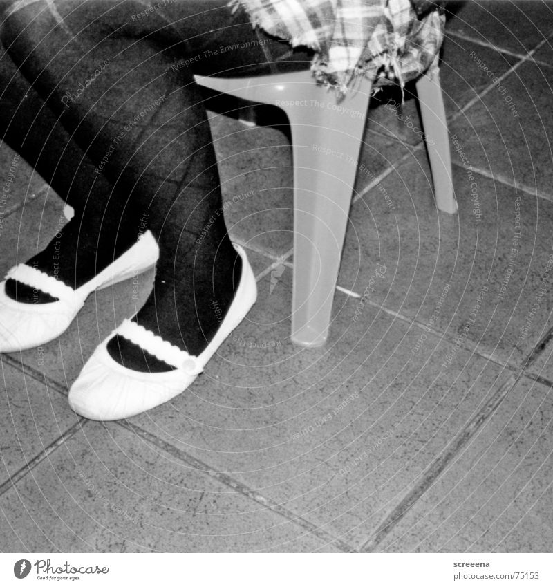 Woman White Black Footwear Legs Wait Sit Chair Tile Statue Tights Checkered Ballerina