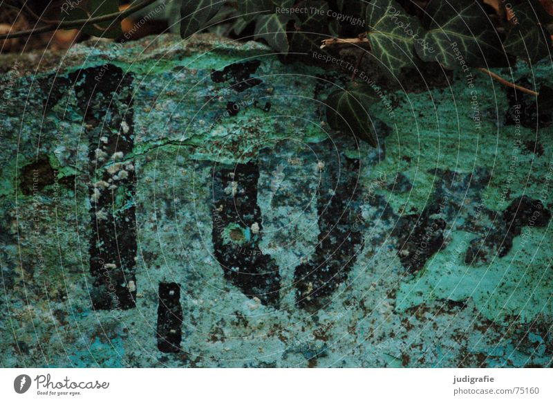 1,0 m Meter Comma Empty Swimming pool Ivy Green Turquoise Black Digits and numbers Typography Stencil letters Autumn Decline Flake off Verdigris Weathered Edge