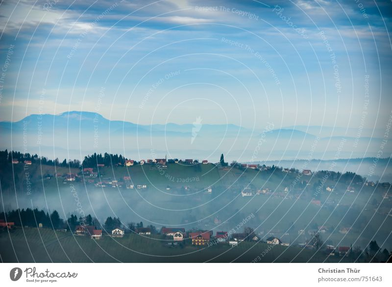 Southern Styria in the fog Environment Nature Clouds Autumn Bad weather Fog Rain Plant Tree Grass Bushes Hill Small Town Deserted House (Residential Structure)