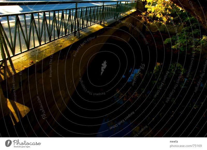 | Transition. Braunschweig Autumn Afternoon Patch of light Leaf Bridge Water River Sun Handrail Across Shadow
