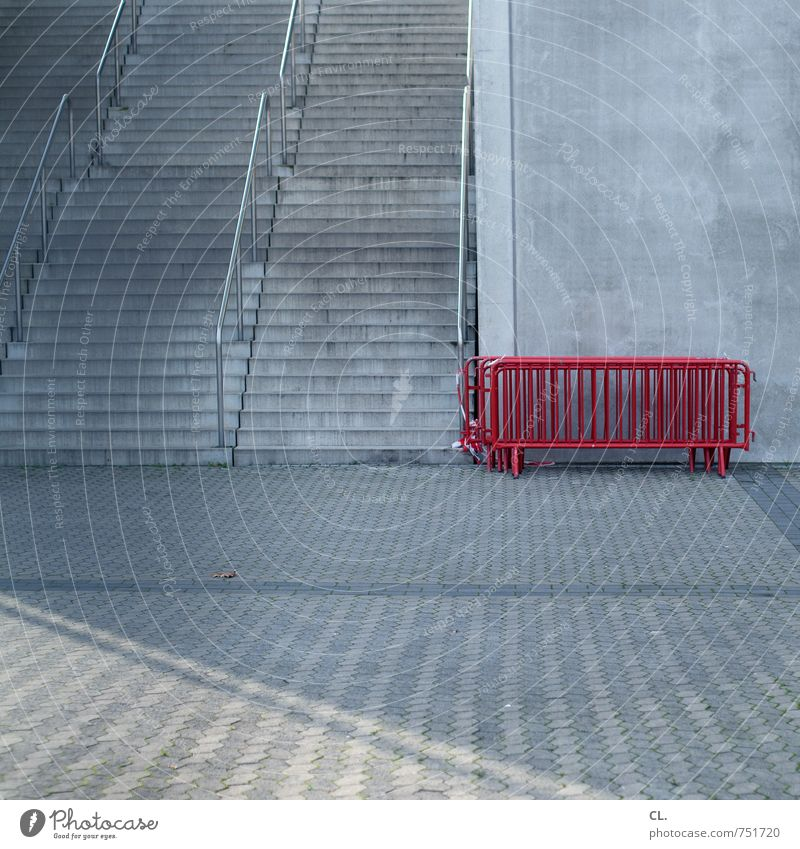 before the game is after the game Deserted Places Building Architecture Stadium Wall (barrier) Wall (building) Stairs Gray Red Safety Stagnating Barrier