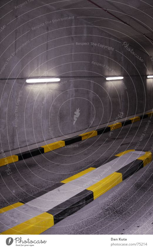 Yellow Dark Concrete Neon light Parking garage Claustrophobia Underground