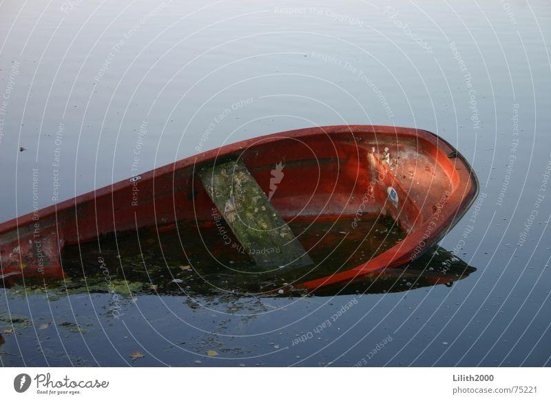 Drunk barge Watercraft Lake Pond Autumn Red Go under Capsize Motor barge capsized