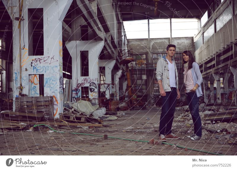 Human being Youth (Young adults) Young woman 18 - 30 years Young man Adults Graffiti Feminine Architecture Building Exceptional Fashion Couple Friendship