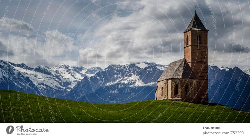 St. Kathrein, Hafling Tourism Far-off places Freedom Summer Mountain Hiking Village Deserted Church Dome Wall (barrier) Wall (building) Facade