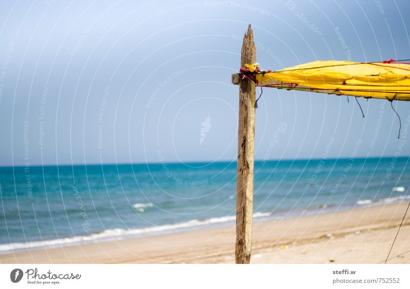 Sky Nature Vacation & Travel Blue Water Summer Sun Ocean Relaxation Beach Yellow Life Coast Swimming & Bathing Wood Sand