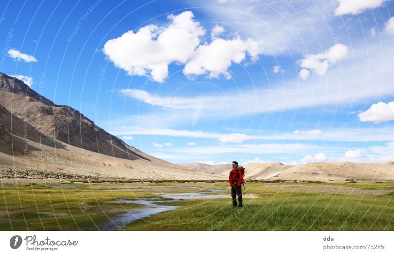 Lost in India Far-off places Infinity Man Brook Ladakh Doomed Landscape Human being River Mountain Sky