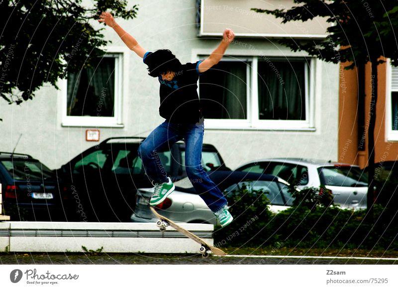 City Sports Jump Style Action Driving Munich Skateboarding Downward Coil Trick Funsport Parking level Bavaria Stunt