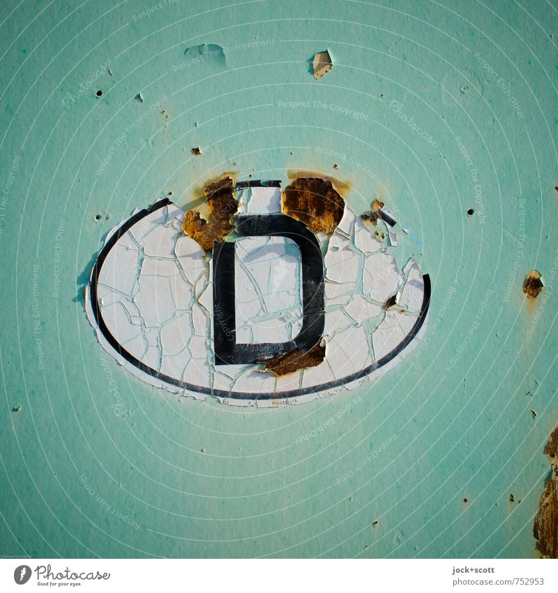Identification D Illustration Germany Wrecked car Steel Rust Characters Oval Label Pictogram Crack & Rip & Tear Firm Broken Original Retro Green Moody