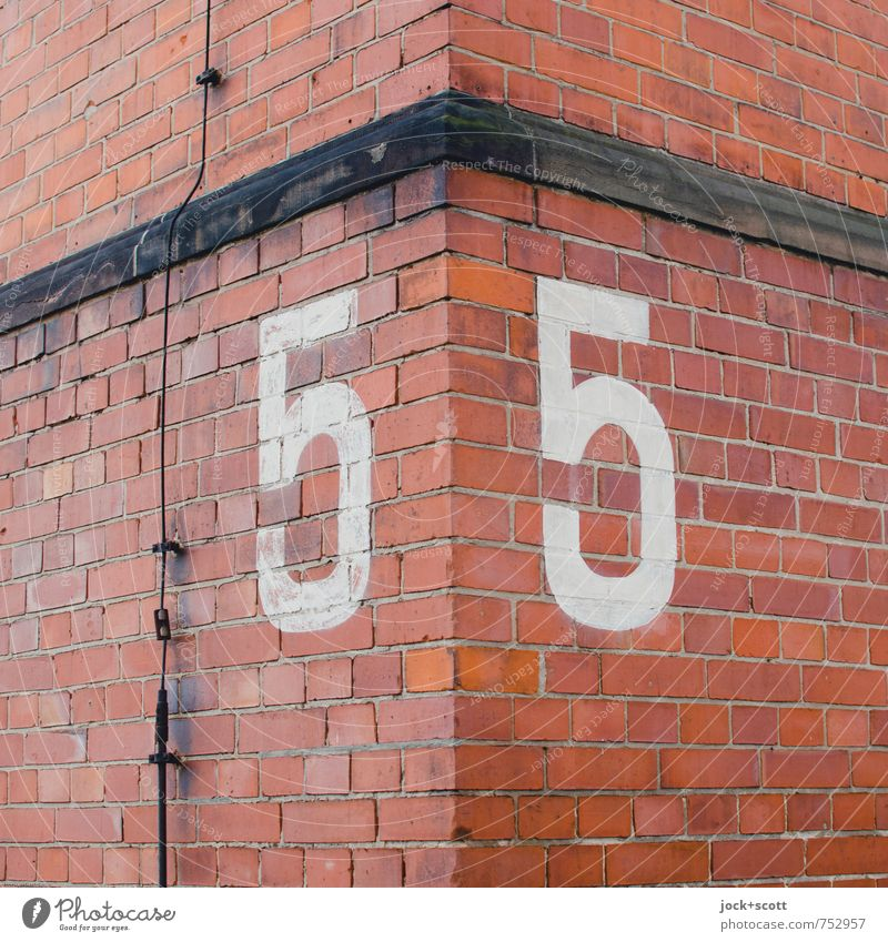 Wall (building) Wall (barrier) Building Facade Orange Large In pairs Corner Retro Illustration Planning Digits and numbers Historic Target Firm Watchfulness