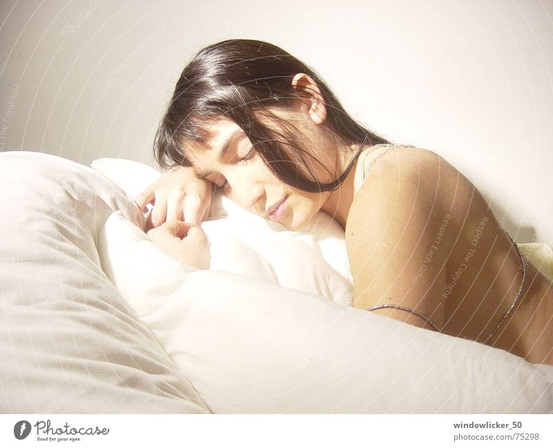 no title Beauty Photography Light sleep white female quiet bed warm.