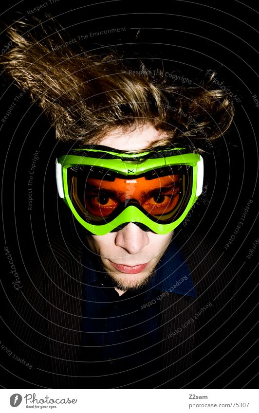 Man Face Hair and hairstyles Style Crazy Stand Mask Facial expression Muddled Chic Switch off Go crazy Skiing goggles