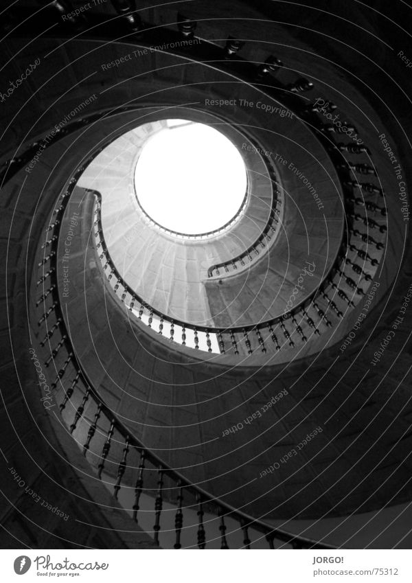 Sky Dark Above Air Bright Stairs Under Handrail Snail Rotated