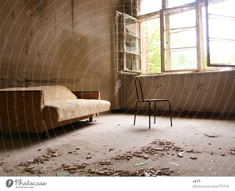 Room with a view Dirty Sofa Broken Window Light Sanitarium Historic Monument Loneliness Decline Destruction Interior shot Old Chair smashed Sun
