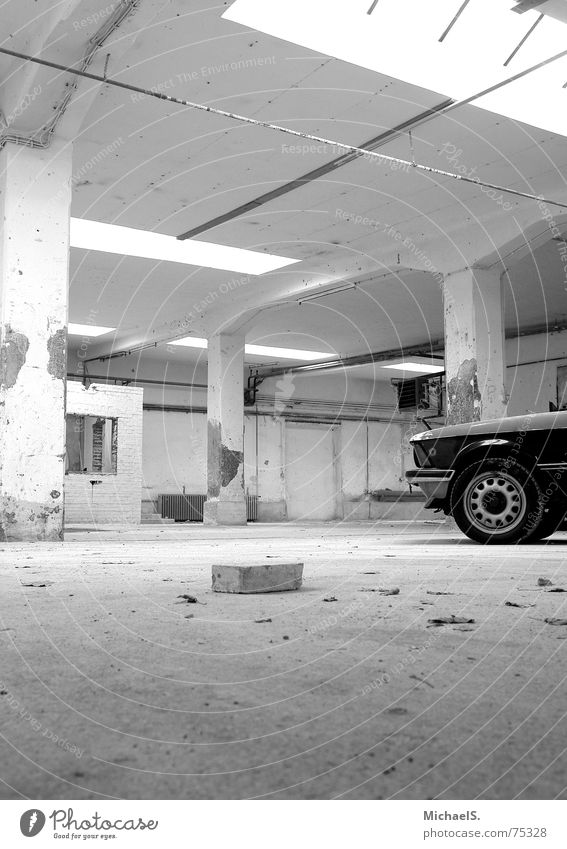 deep insight Vintage car Youngtimer Brick Factory Empty Broken bmw Black & white photo Warehouse Old Car