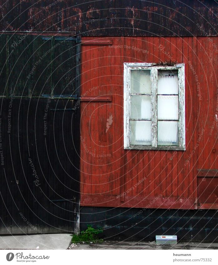 Old Red Black Window Door Derelict Denmark Carried