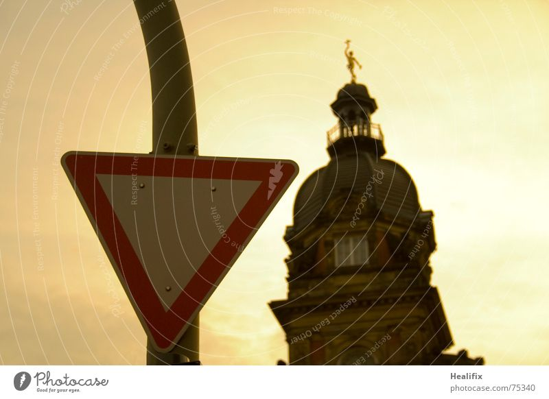 Old Building Signs and labeling Transport Landshut Tower Triangle Yield sign Old post office