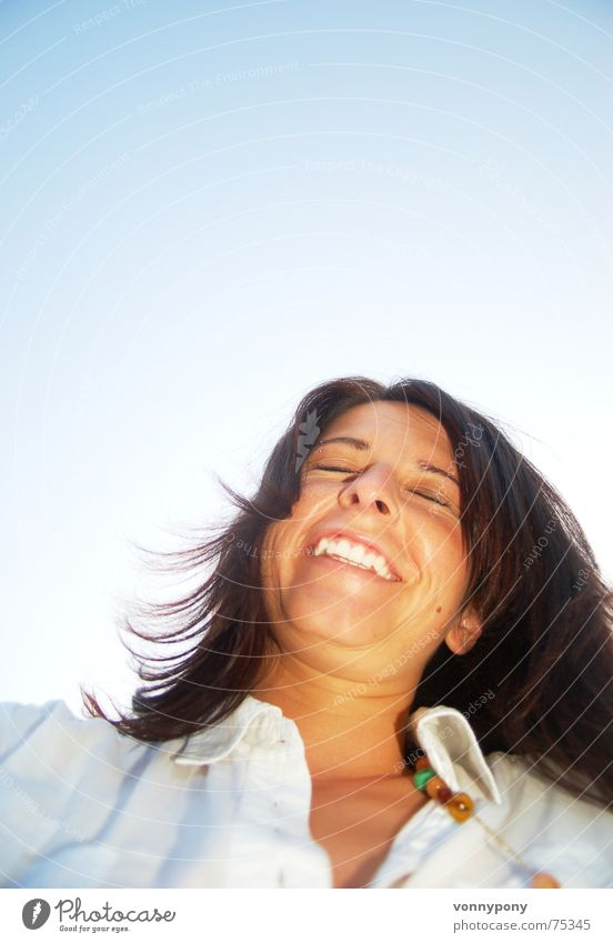 Woman Sky Sun Blue Summer Joy Eyes Happy Laughter Dream Hair and hairstyles Brown Skin Nose Clothing Happiness