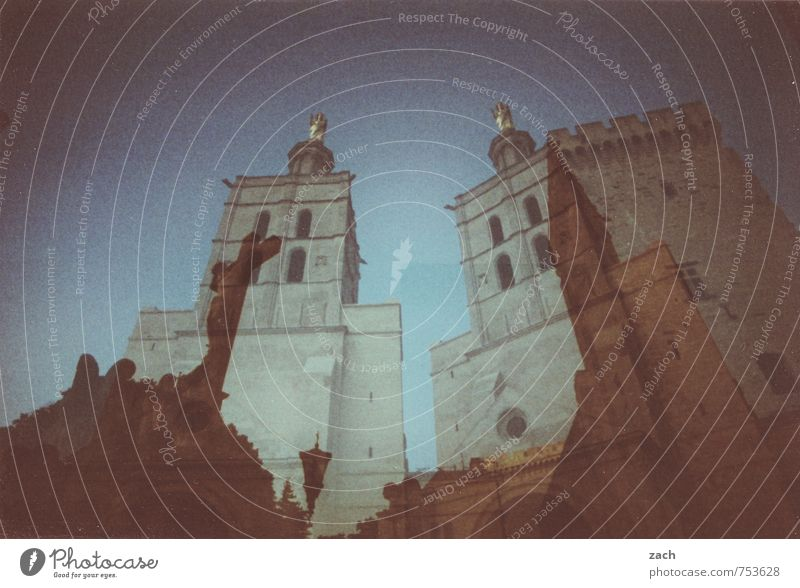 Vacation & Travel Blue City Building Religion and faith Church Tower Castle Belief Manmade structures Christian cross Crucifix France Ruin Double exposure Dome