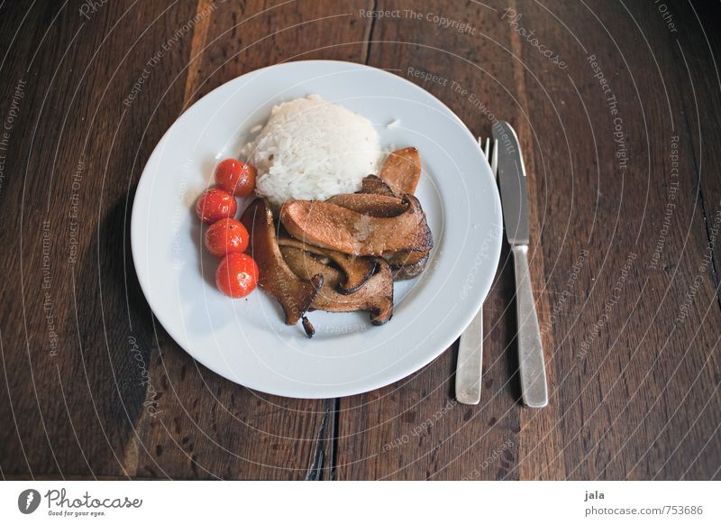 Healthy Eating Food Nutrition Delicious Appetite Organic produce Mushroom Plate Lunch Tomato Vegetarian diet Cutlery Rice Wooden table Slow food Table