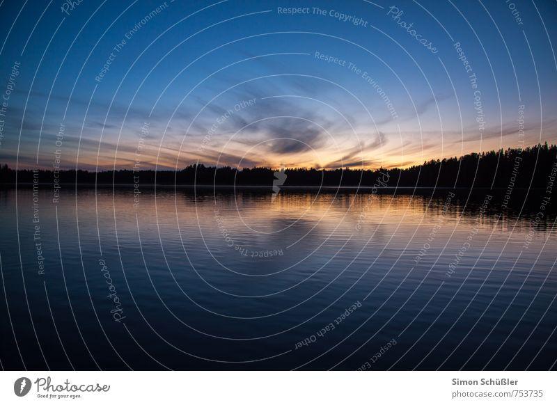 Finland Nature Landscape Water Sky Lakeside Bay Blue Exterior shot Deserted Twilight Contrast