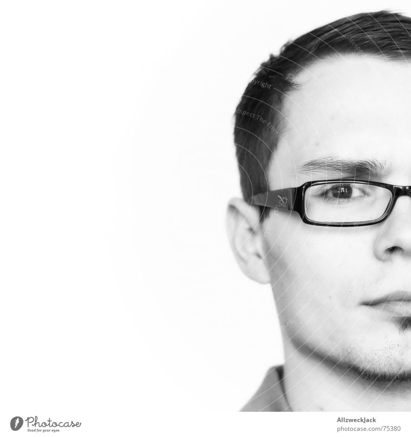 Human being Man Black Face Masculine Eyeglasses Concentrate Facial hair Partially visible Half Skeptical Person wearing glasses Short haircut