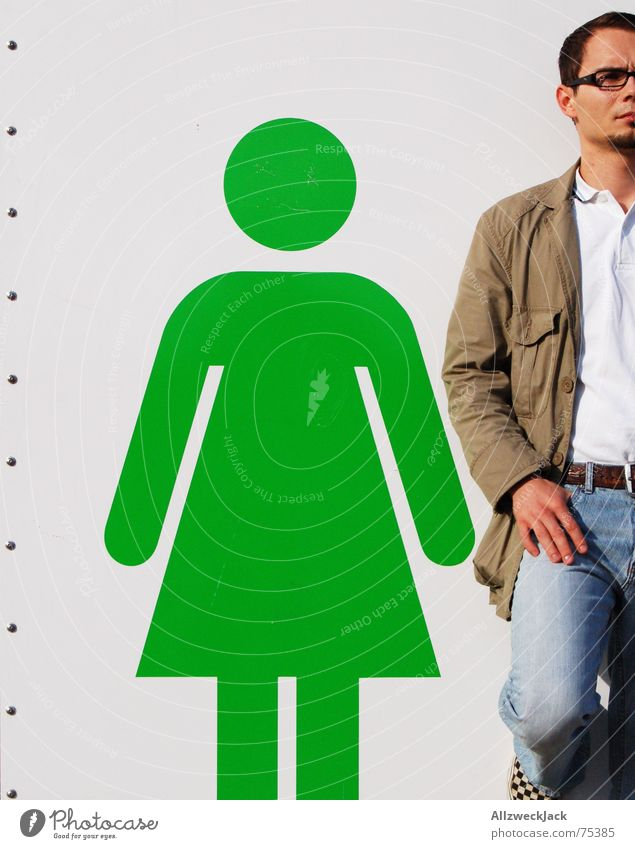 My girl and I Woman Man Bowel movement Stick figure Toilet Exterior shot Stand Signage Wait Couple Placeholder toilet symbol cottage toilet house