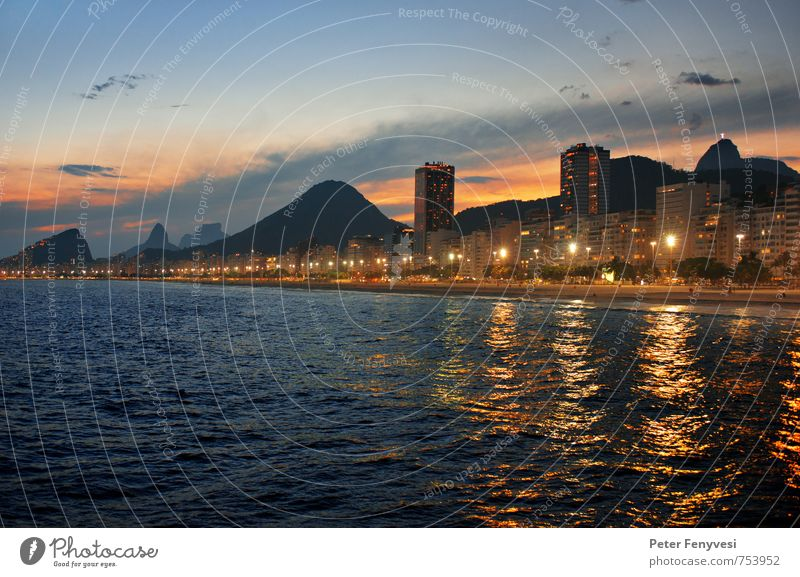 Rio de Janeiro 13 Sunrise Sunset Coast Lakeside Beach Brazil Americas South America Town Tourist Attraction Moody Calm Copacabana Colour photo Exterior shot