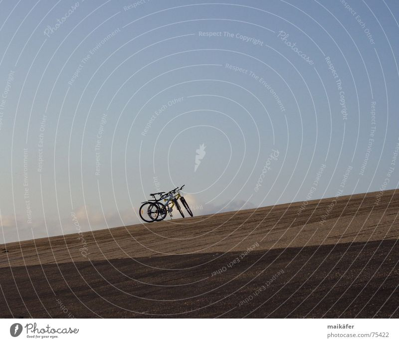 Sky Blue Vacation & Travel Ocean Clouds Loneliness Calm Gray Brown Together Bicycle Leisure and hobbies Break North Sea Diagonal Paving stone