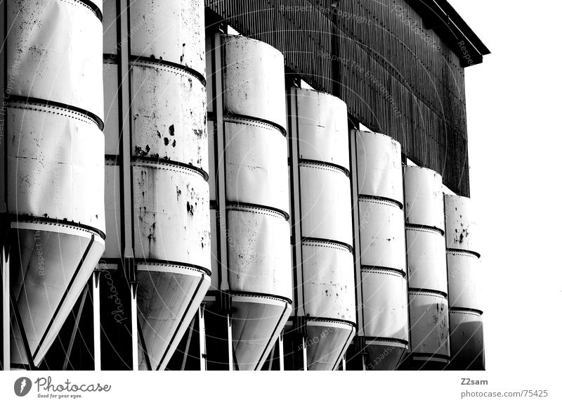 in row and member bw Silo Keg Industrial Photography White Broken Yellow Pattern Abstract Style 2 Side by side Attic Rust Trashy Structures and shapes Row