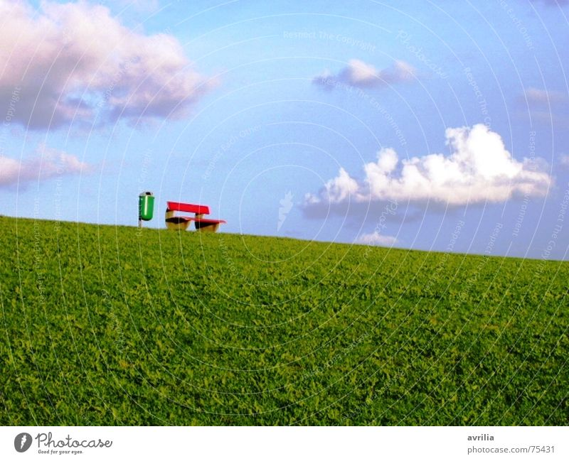Garbage and Idyll Trash container Clouds Green Grass Meadow Dike Red White Break Calm Restorative Dream Gorgeous Summer Bench Blue Relaxation Beautiful weather