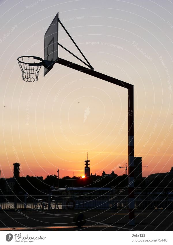 Cologne Streetball Basket Basketball basket Sunset Ball sports Deutsche Telekom High-rise Building Places Concrete Town Leisure and hobbies Joy of playing Calm