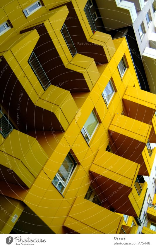 House (Residential Structure) Yellow Berlin Window Building Facade Balcony Seventies Prefab construction Mud Kreuzberg Ochre