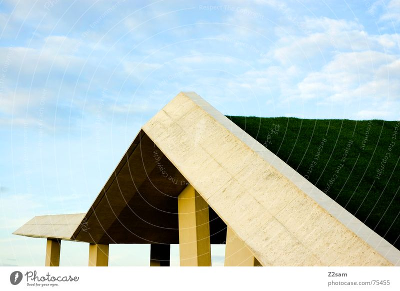 ups and downs Sky Clouds Manmade structures Meadow Green Abstract Grass architecture blue Construction site geometry Pole Perspective