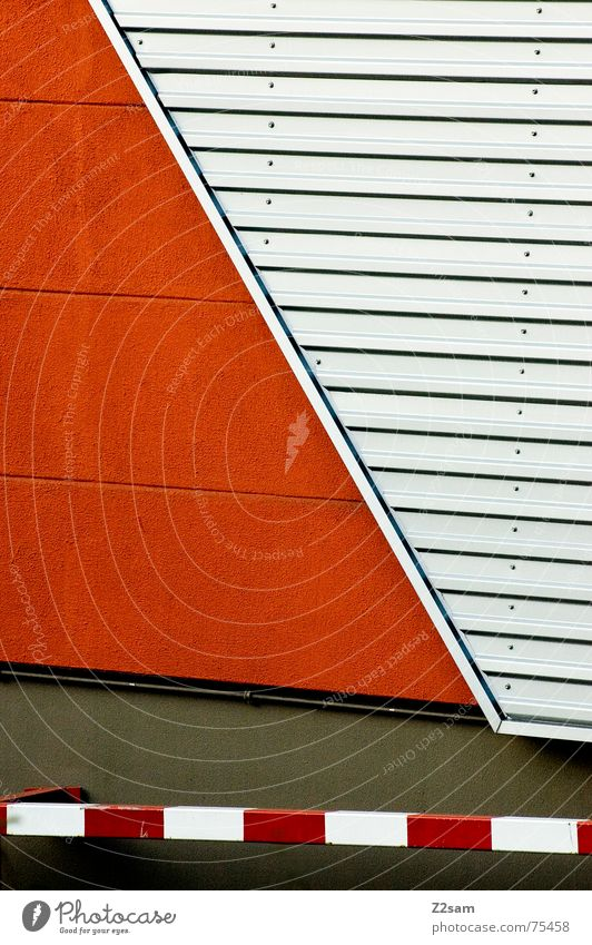 abstract geometry Abstract Geometry Red Wall (building) Tin Pattern lines Line Orange Signs and labeling Metal Pole