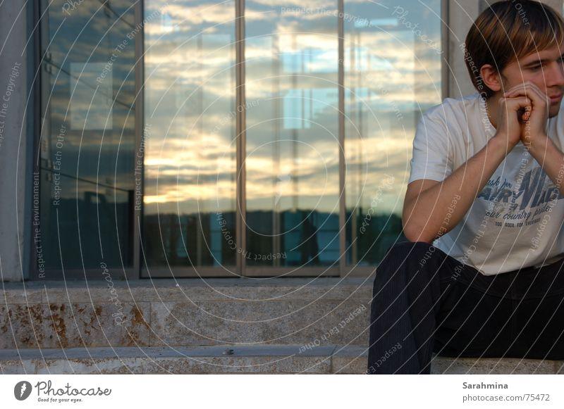 Human being Man Hand Sky Clouds Sadness Think Grief Stairs Bavaria Würzburg Glass door Kulturspeicher warehouse