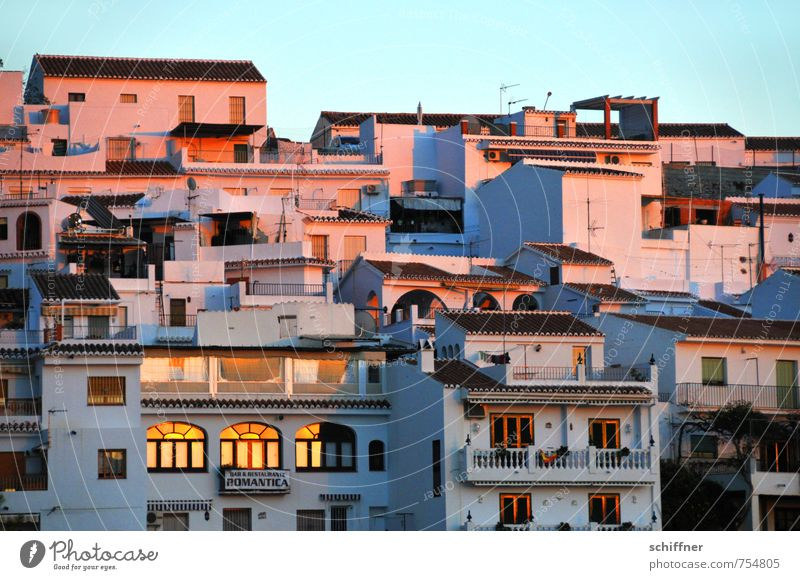 hillside location Cloudless sky Sunrise Sunset Beautiful weather Village Old town House (Residential Structure) Detached house Hut Tower block Maritime Blue