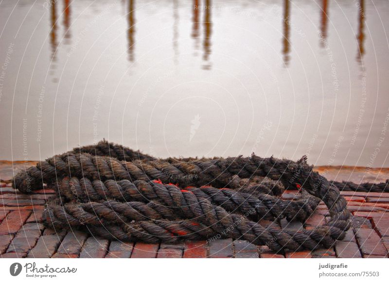 cordage Rope Brick Harbour Reflection Red Navigation Fishery Stone Water Colour North Sea Paving stone