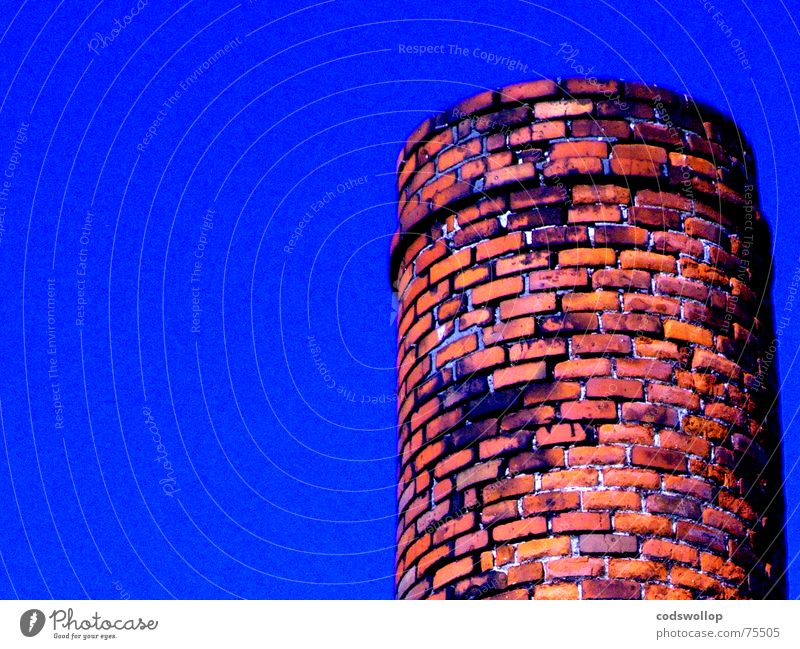 Sky Blue Red Orange Industry Brick Chimney