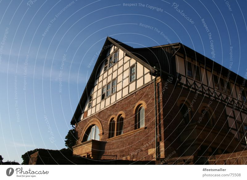 Sky Blue House (Residential Structure) Window Castle Mystic Eisenach Half-timbered house Wartburg castle