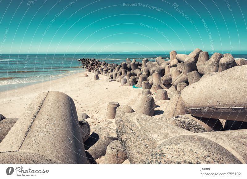tetrapack Landscape Sky Horizon Summer Beautiful weather Coast Beach North Sea Island Sylt Sand Concrete Water Gigantic Hideous Blue Brown Gray Planning